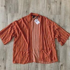Striped kimono style open front cover up